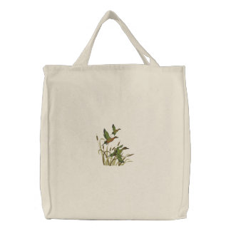 Flying Ducks Embroidered Tote Bag