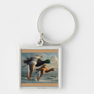 Flying Ducks Silver-Colored Square Keychain