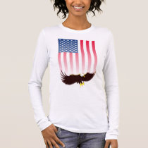 Flying Eagle And American Flag Long Sleeve T-Shirt
