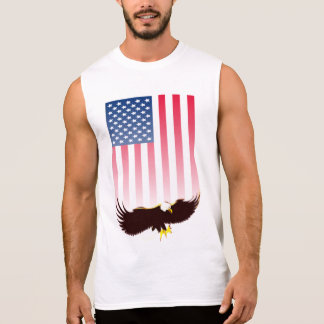 Flying Eagle And American Flag Sleeveless Shirt