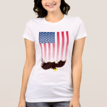 Flying Eagle and American Flag T-Shirt