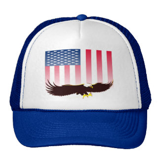 Flying Eagle And American Flag Trucker Hat