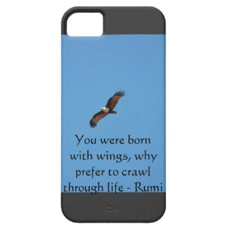 Flying eagle blue black iphone with Rumi quote iPhone 5 Case