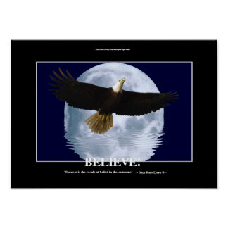 "Flying Eagle & Moon ""Believe!"" Motivational Art Poster"