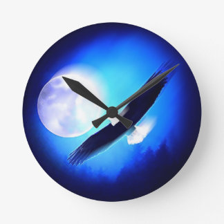 Flying Eagle & Moon Round Clock
