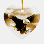 Flying Eagle Double-Sided Heart Ceramic Christmas Ornament