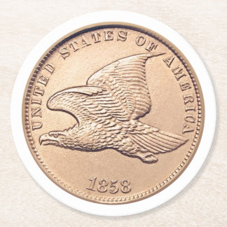 Flying Eagle Penny Round Paper Coaster