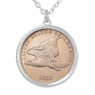 Flying Eagle penny Silver Plated Necklace