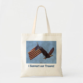 Flying Eagle & US Flag Troops Support Art Design Tote Bag