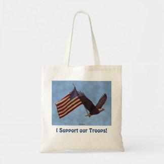 Flying Eagle & US Flag Troops Support Art Design Tote Bag