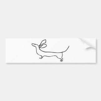 Flying ears Dachshund one line illustration Bumper Sticker