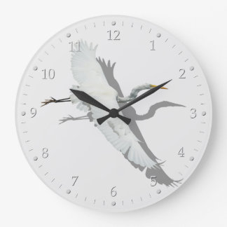 Flying Egret Large Clock