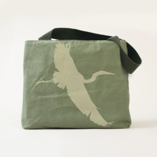 Flying Egret Silhouette Tote