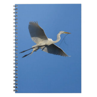 Flying Egret with Twig Spiral Notebook