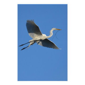 Flying Egret with Twig Stationery