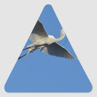 Flying Egret with Twig Triangle Sticker