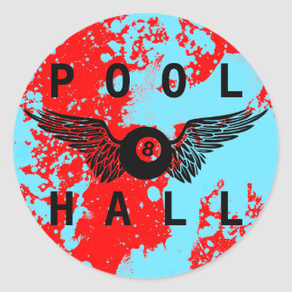 flying eightball pool hall classic round sticker
