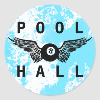 flying eightball pool hall round stickers