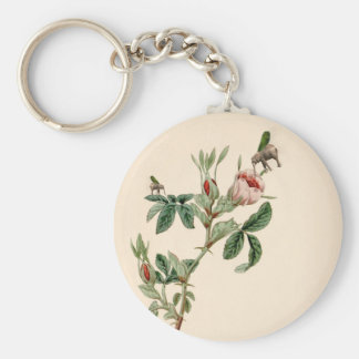 Flying Elephant above rose - beautiful love messag Basic Round Button Keychain