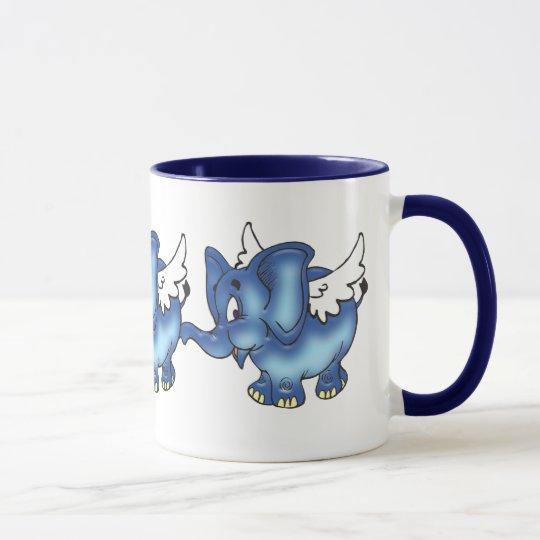 Flying Elephant (Blue) Mug