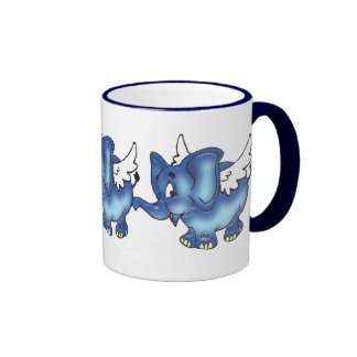 Flying Elephant (Blue) Coffee Mugs