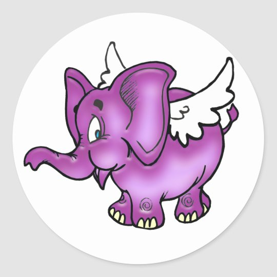 Flying Elephant Classic Round Sticker