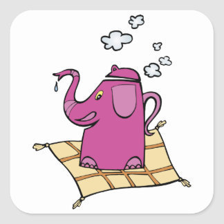 Flying Elephant Tea Kettle Square Sticker