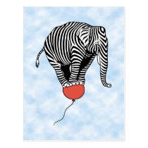 FLying Elephant Zebra Postcard