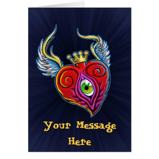 Flying Eyeball Heart Design Card