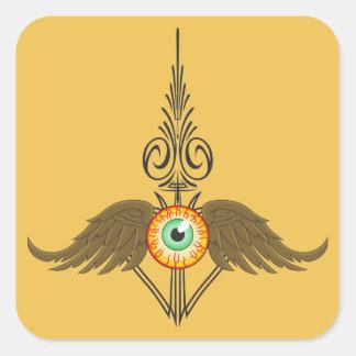 Flying Eyeball Pinstripe Square Sticker