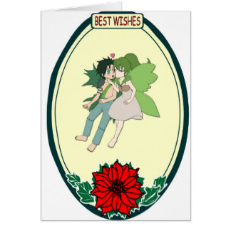Flying fairy couple, Best Wishes Card