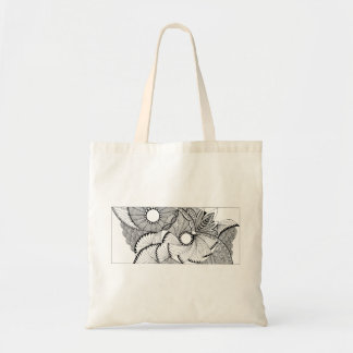 flying fans black and white hand drawn design tote bag