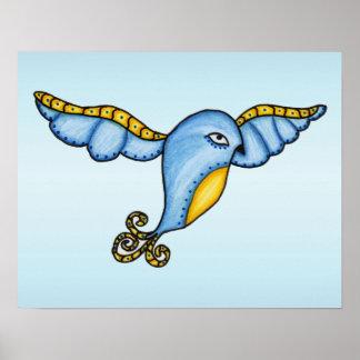 Flying Fantasy Blue Bird Poster