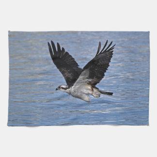Flying Fish Eagle Osprey Nature Photograph Kitchen Towel