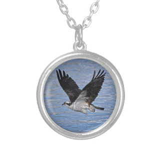 Flying Fish Eagle Osprey Nature Photograph Silver Plated Necklace