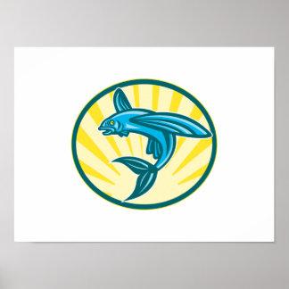 Flying Fish Jumping Retro Woodcut Print
