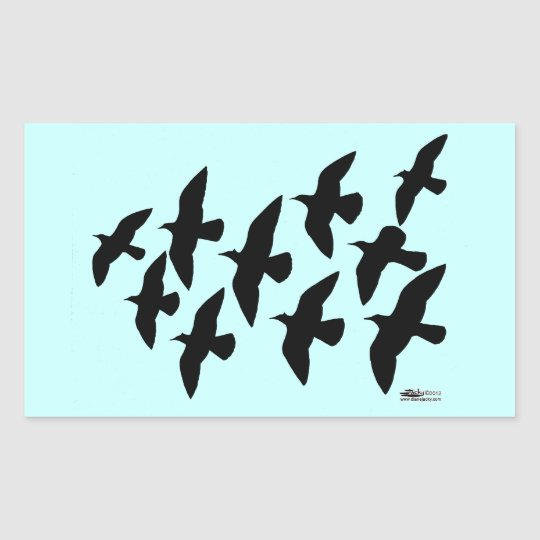 Flying Flight Pigeons Rectangular Sticker