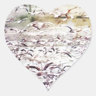 Flying Flock of Flamingos Heart Sticker