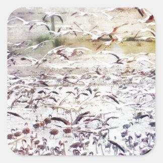 Flying Flock of Flamingos Square Sticker