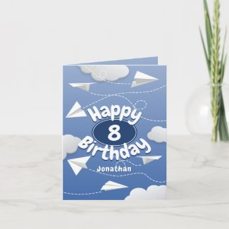 flying folded paper airplanes kids birthday card