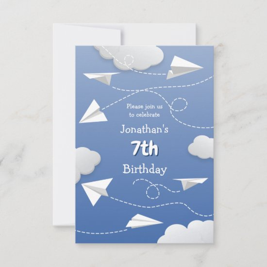 flying folded paper airplanes childrens birthday announcement