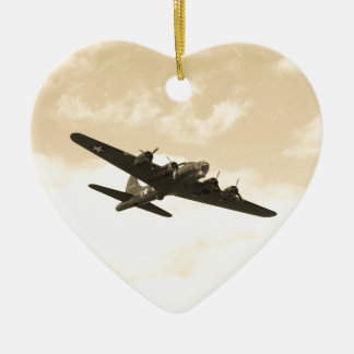 Flying Fortress In Flight Double-Sided Heart Ceramic Christmas Ornament