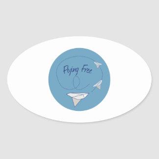 Flying Free Oval Stickers