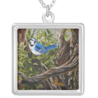 Flying Friends Butterfly and Blue Jay on Necklace