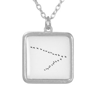 "Flying Geese ""V"" Formation Square Pendant Necklace"