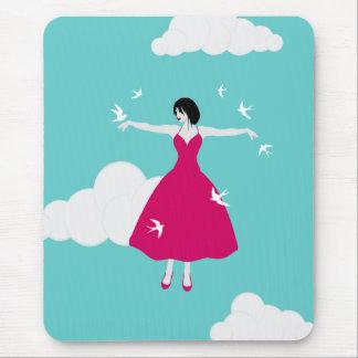 Flying Girl With Birds mousepad