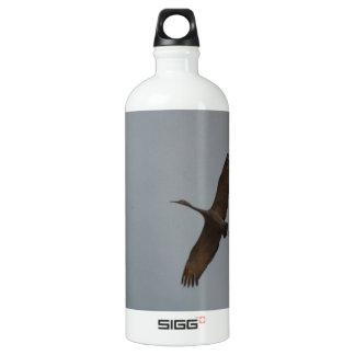 Flying Gliding Sandhill Crane Aluminum Water Bottle