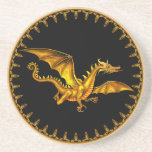 flying gold dragon beverage coasters