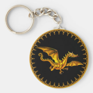 flying gold dragon on black basic round button keychain