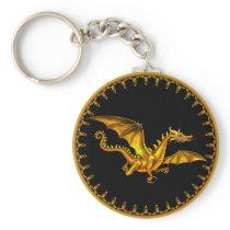 flying gold dragon on black keychain